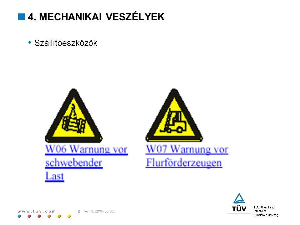 4. MECHANIKAI VESZÉLYEK Szállítóeszközök rev.: 3. (2004.08.30.)