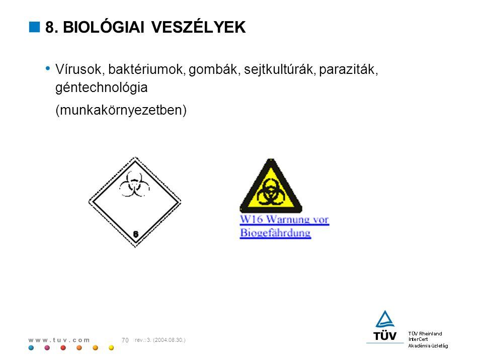 8. BIOLÓGIAI VESZÉLYEK Vírusok, baktériumok, gombák, sejtkultúrák, paraziták, géntechnológia. (munkakörnyezetben)