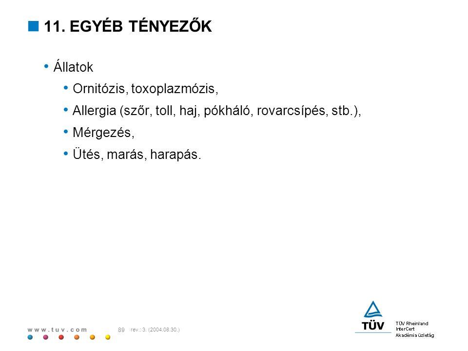 11. EGYÉB TÉNYEZŐK Állatok Ornitózis, toxoplazmózis,