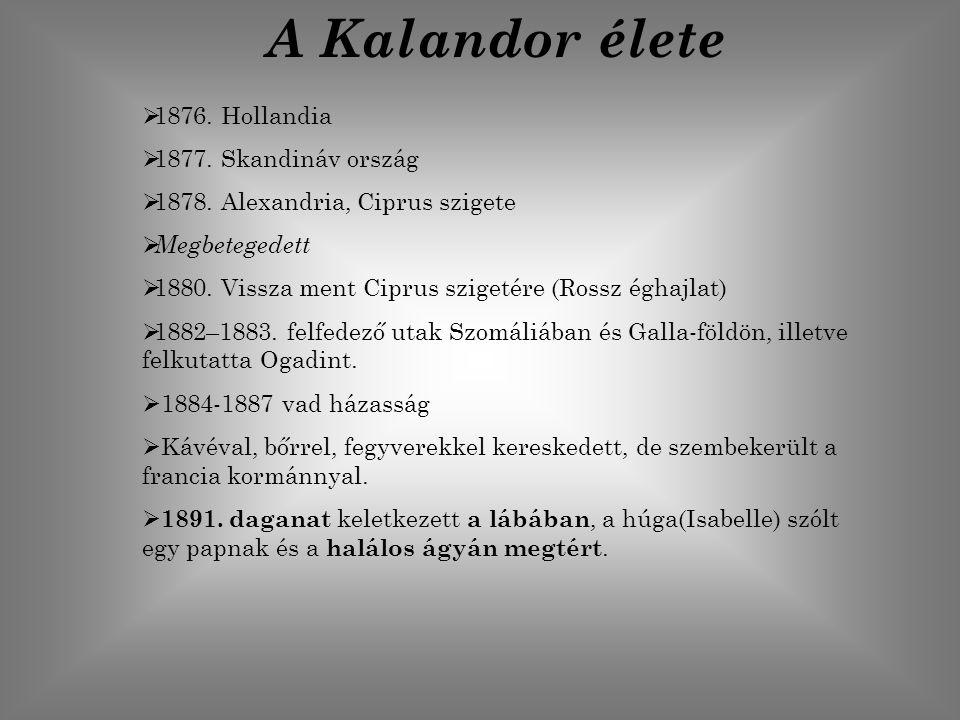 A Kalandor élete 1876. Hollandia 1877. Skandináv ország