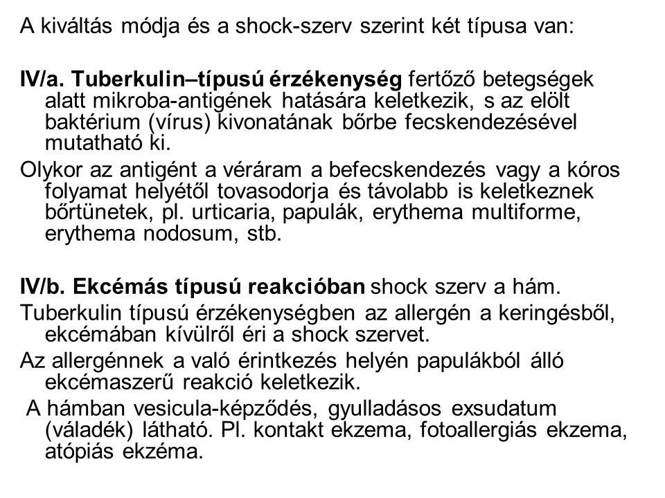 A kiváltás módja és a shock-szerv szerint két típusa van: