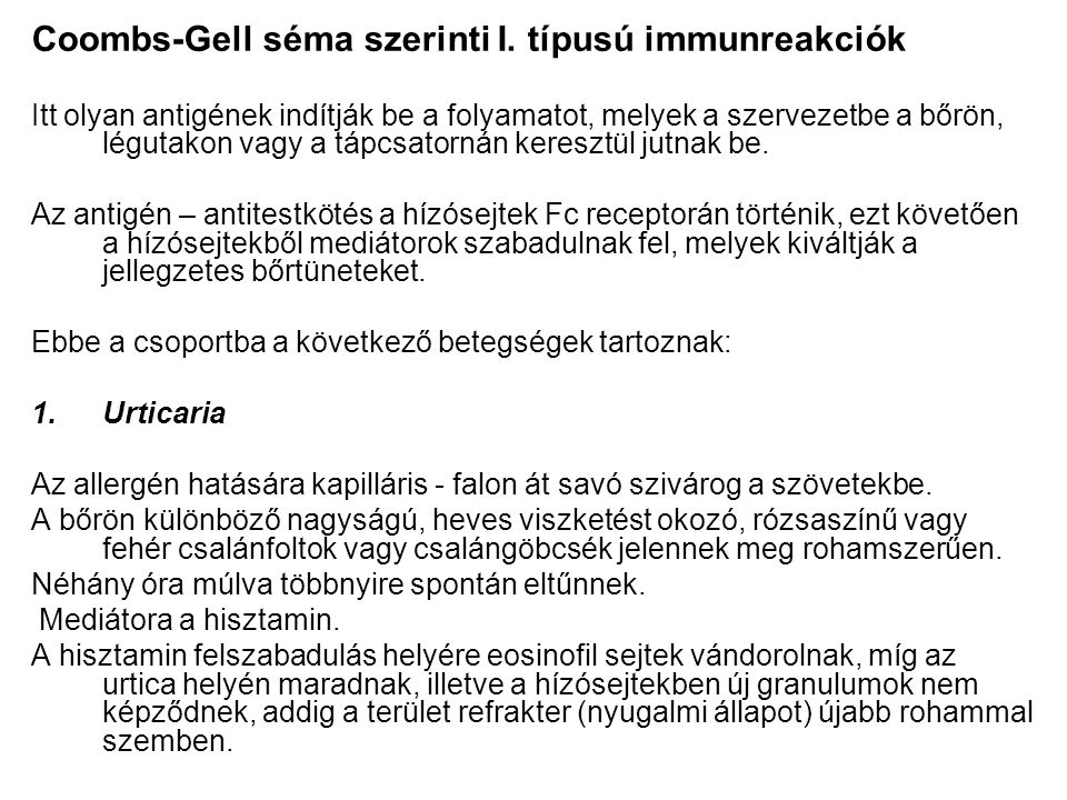 Coombs-Gell séma szerinti I. típusú immunreakciók