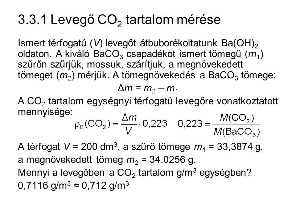 3.3.1 Levegő CO2 tartalom mérése