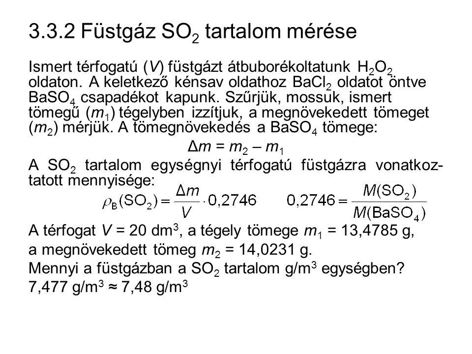 3.3.2 Füstgáz SO2 tartalom mérése