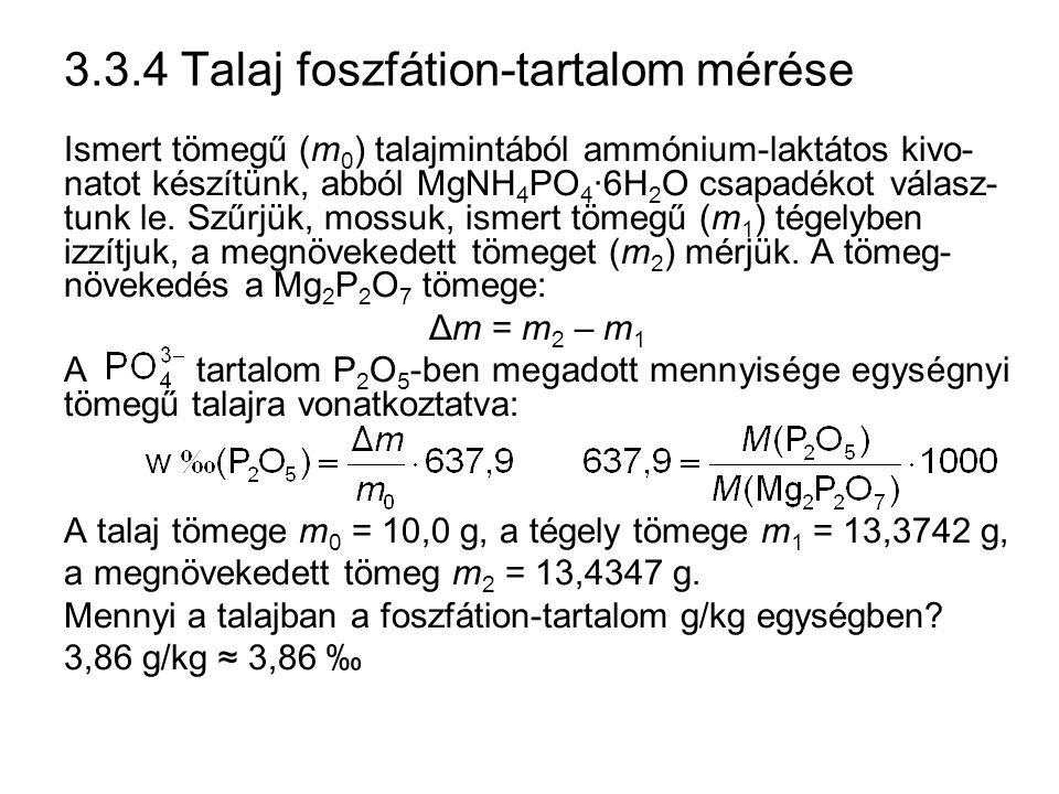 3.3.4 Talaj foszfátion-tartalom mérése
