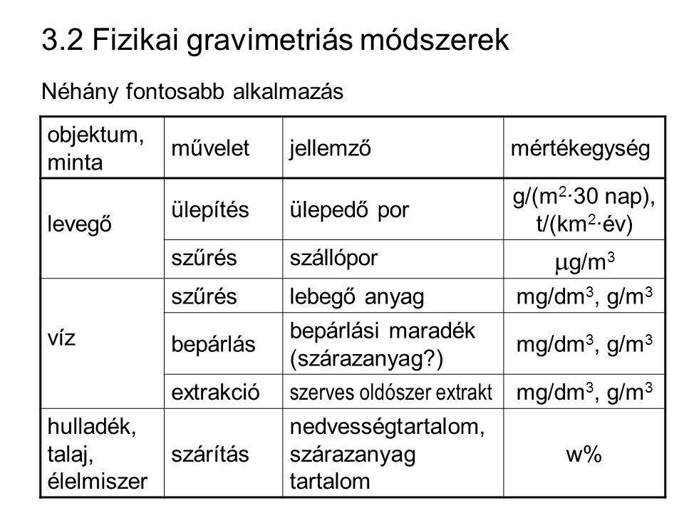 3.2 Fizikai gravimetriás módszerek