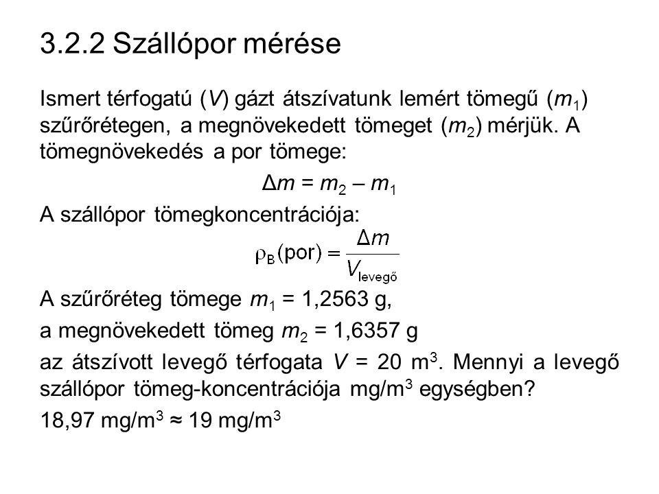 3.2.2 Szállópor mérése