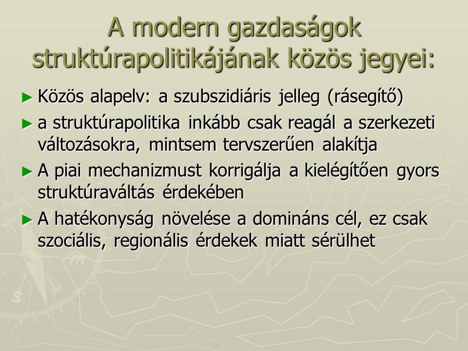 A modern gazdaságok struktúrapolitikájának közös jegyei: