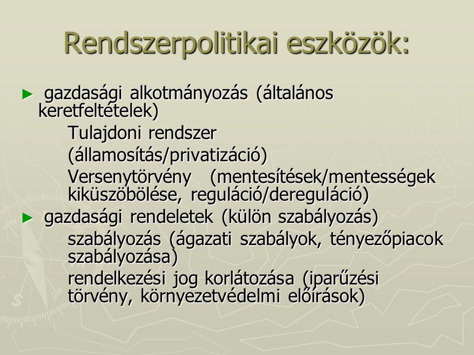 Rendszerpolitikai eszközök: