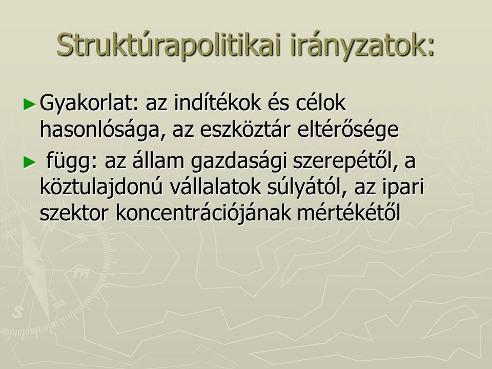 Struktúrapolitikai irányzatok: