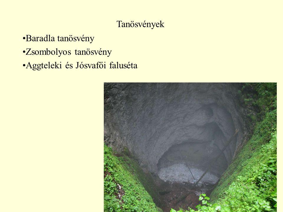 Tanösvények Baradla tanösvény Zsombolyos tanösvény Aggteleki és Jósvafői faluséta