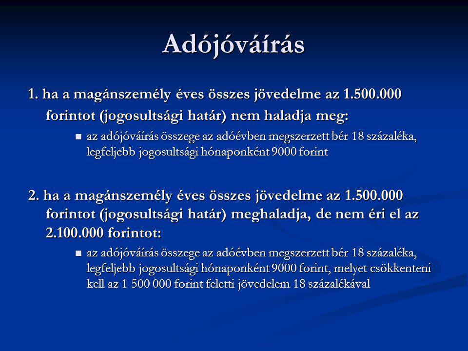 Adójóváírás 1. ha a magánszemély éves összes jövedelme az 1.500.000 forintot (jogosultsági határ) nem haladja meg: