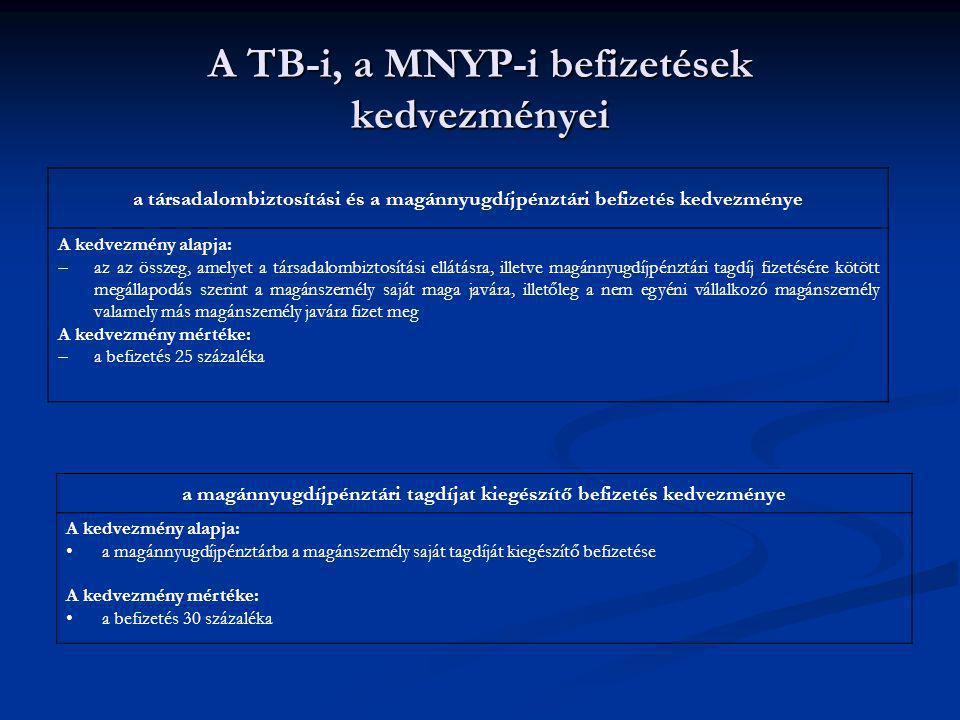 A TB-i, a MNYP-i befizetések kedvezményei