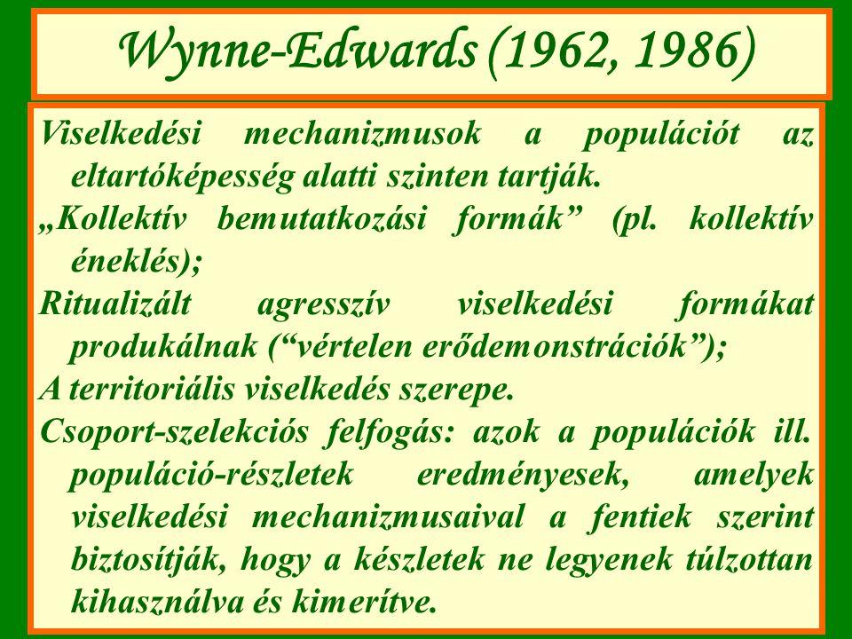 Wynne-Edwards (1962, 1986) Viselkedési mechanizmusok a populációt az eltartóképesség alatti szinten tartják.