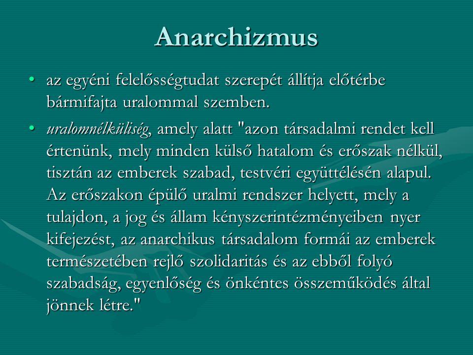 Anarchizmus az egyéni felelősségtudat szerepét állítja előtérbe bármifajta uralommal szemben.
