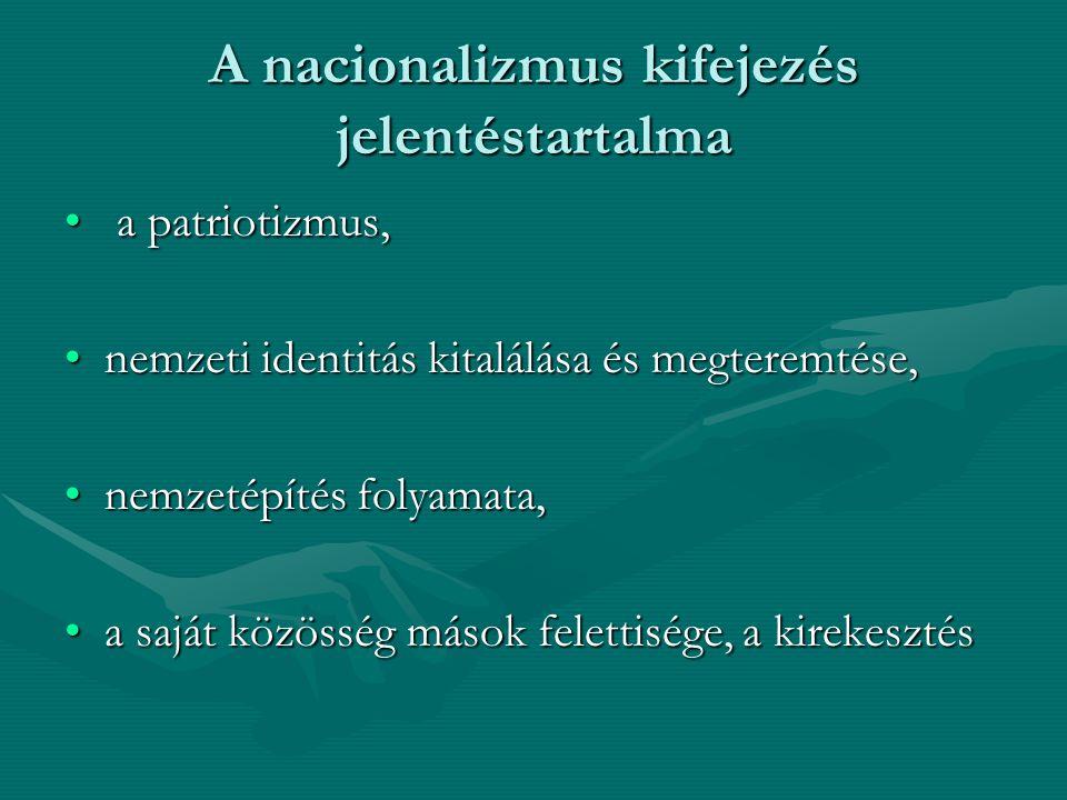 A nacionalizmus kifejezés jelentéstartalma
