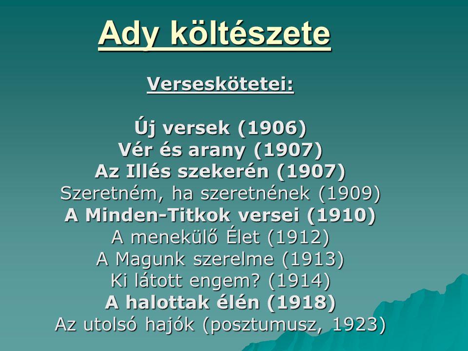 Ady költészete Verseskötetei: Új versek (1906) Vér és arany (1907)