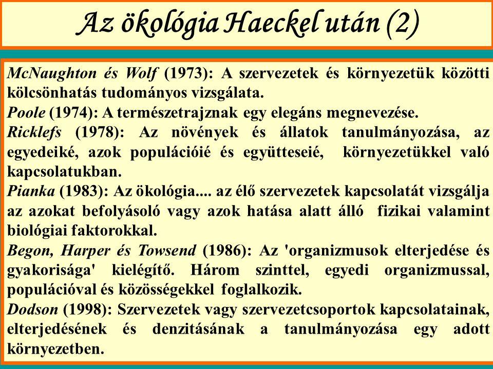 Az ökológia Haeckel után (2)