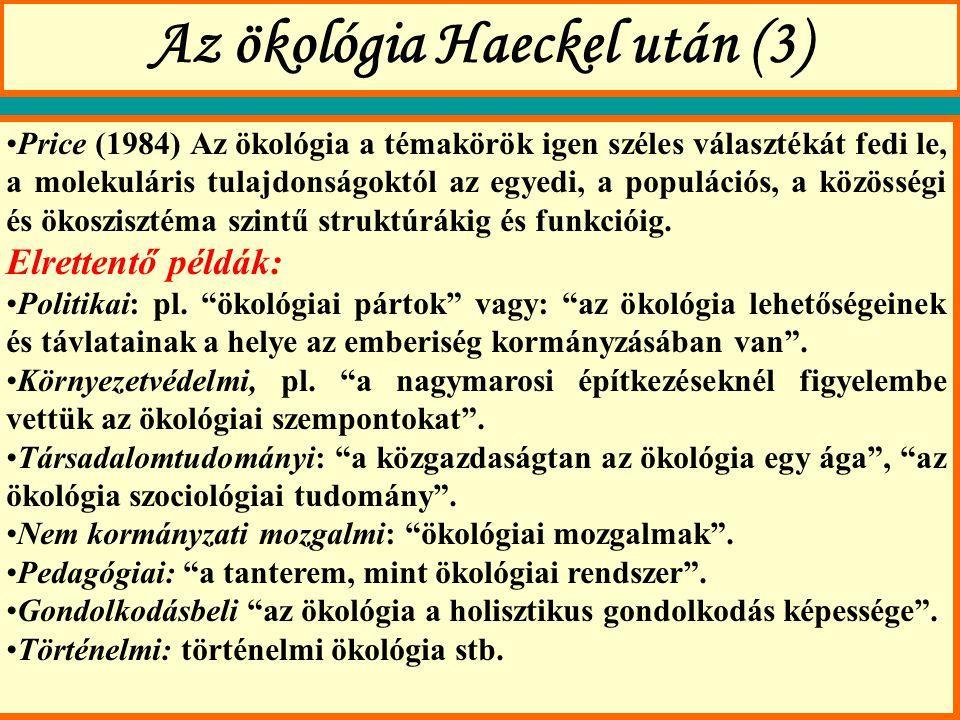 Az ökológia Haeckel után (3)