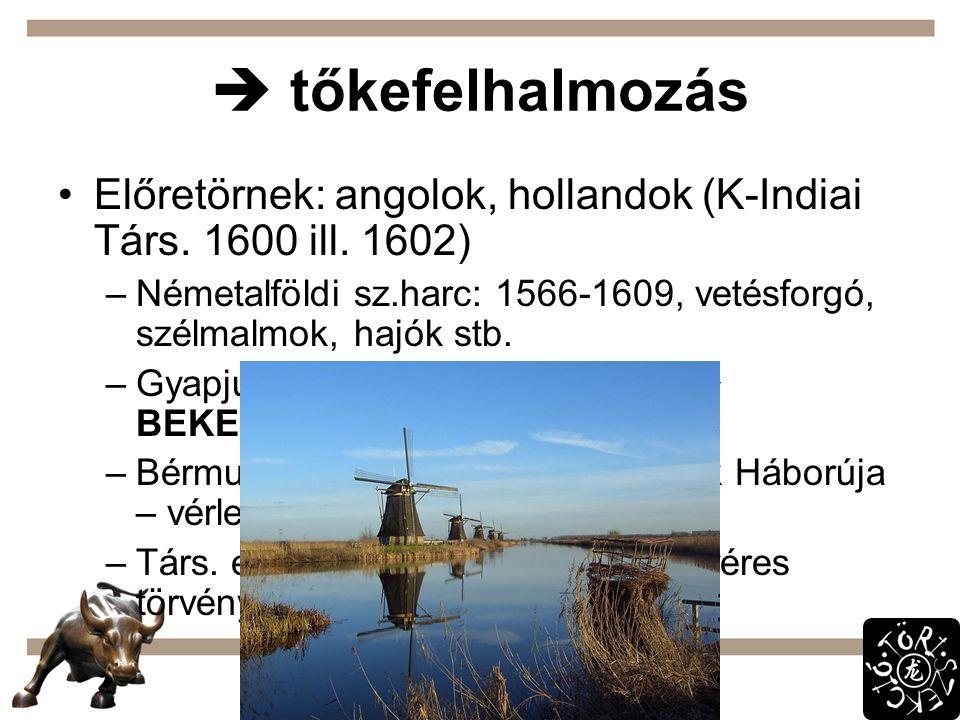  tőkefelhalmozás Előretörnek: angolok, hollandok (K-Indiai Társ. 1600 ill. 1602)