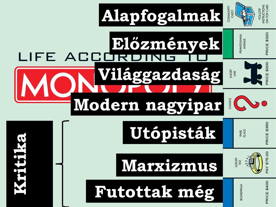 Alapfogalmak Előzmények Világgazdaság Modern nagyipar Kritika Utópisták Marxizmus Futottak még
