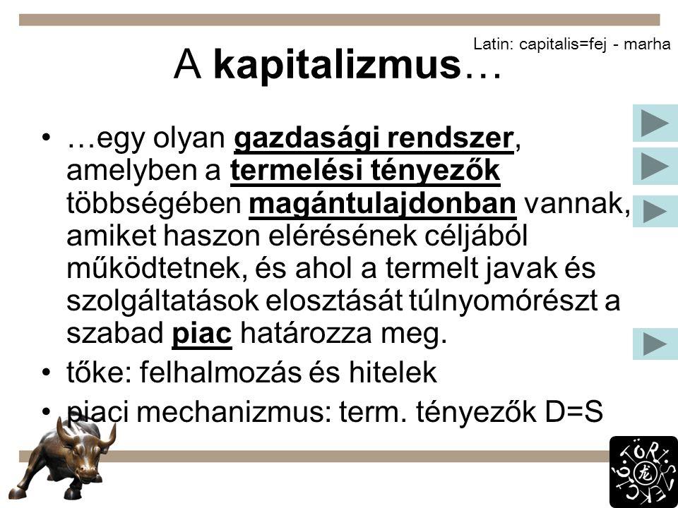 A kapitalizmus… Latin: capitalis=fej - marha.