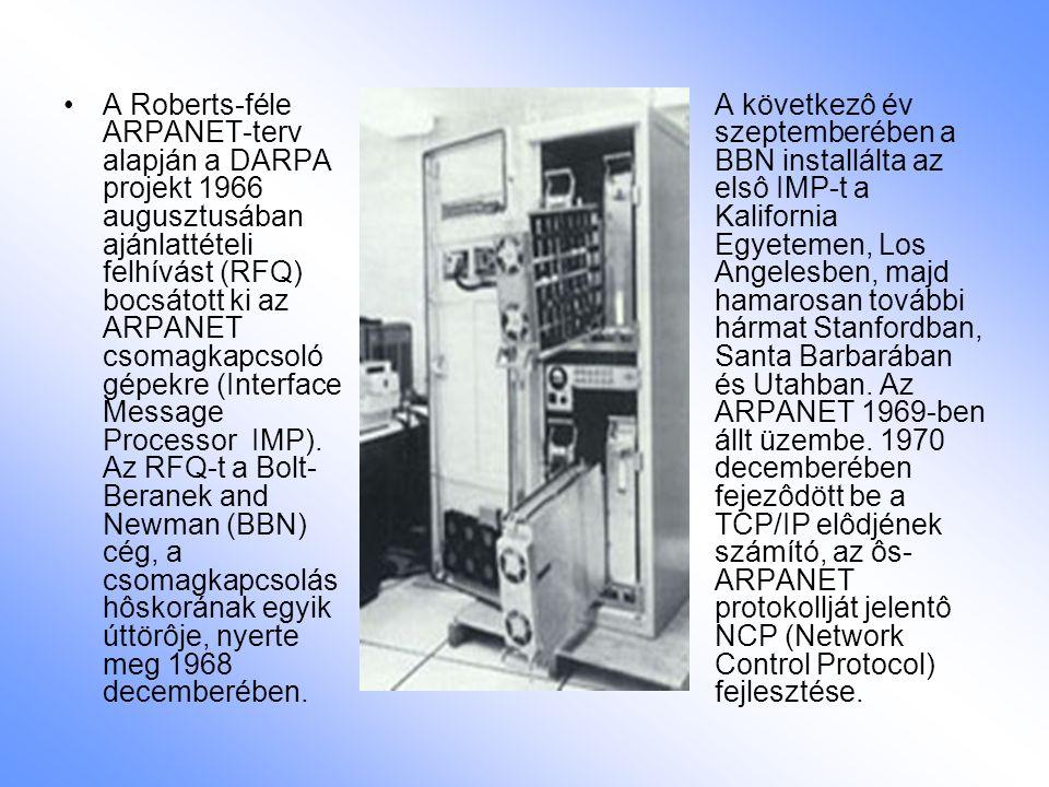 A Roberts-féle ARPANET-terv alapján a DARPA projekt 1966 augusztusában ajánlattételi felhívást (RFQ) bocsátott ki az ARPANET csomagkapcsoló gépekre (Interface Message Processor  IMP). Az RFQ-t a Bolt-Beranek and Newman (BBN) cég, a csomagkapcsolás hôskorának egyik úttörôje, nyerte meg 1968 decemberében.