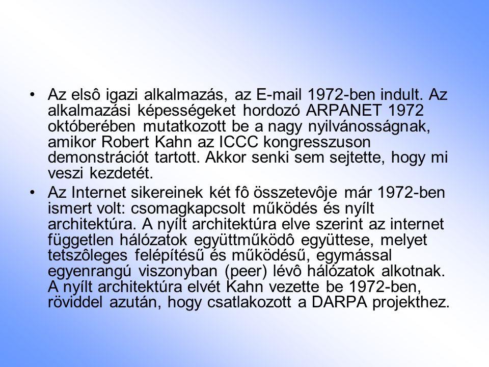 Az elsô igazi alkalmazás, az E-mail 1972-ben indult