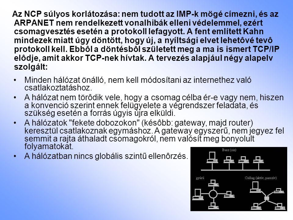 Az NCP súlyos korlátozása: nem tudott az IMP-k mögé címezni, és az ARPANET nem rendelkezett vonalhibák elleni védelemmel, ezért csomagvesztés esetén a protokoll lefagyott. A fent említett Kahn mindezek miatt úgy döntött, hogy új, a nyíltsági elvet lehetôvé tevô protokoll kell. Ebbôl a döntésbôl született meg a ma is ismert TCP/IP elôdje, amit akkor TCP-nek hívtak. A tervezés alapjául négy alapelv szolgált: