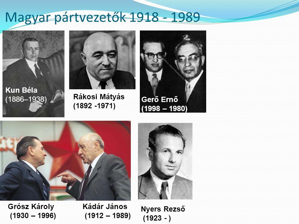 Magyar pártvezetők 1918 - 1989 Kun Béla (1886–1938) Rákosi Mátyás