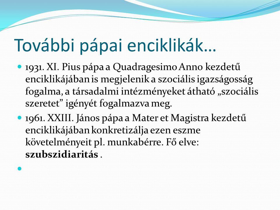 További pápai enciklikák…