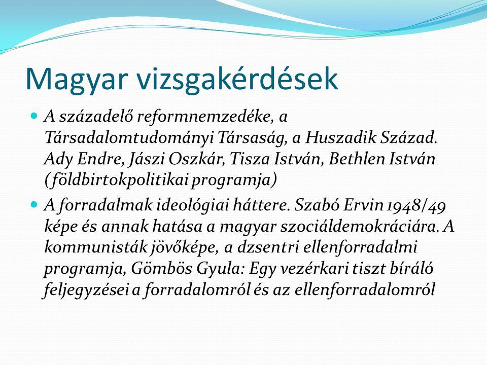 Magyar vizsgakérdések