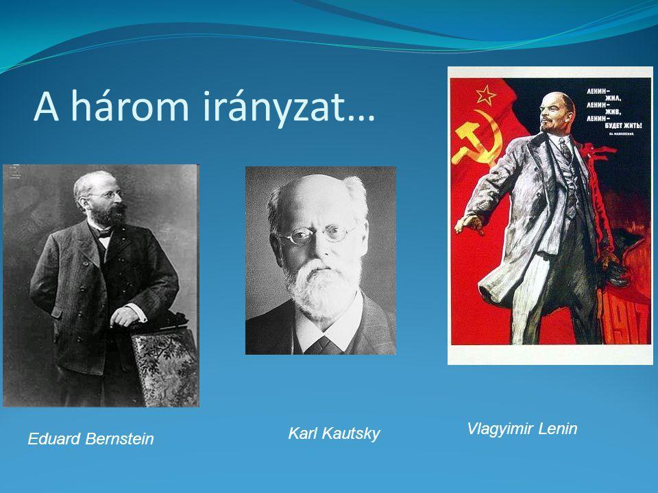A három irányzat… Vlagyimir Lenin Karl Kautsky Eduard Bernstein