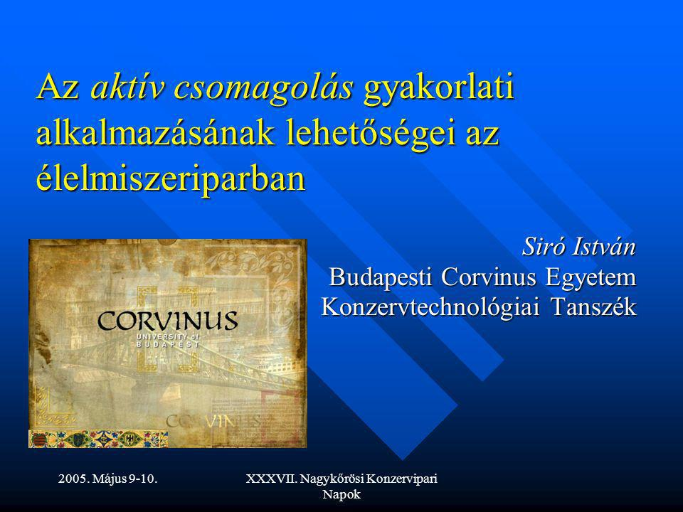 Siró István Budapesti Corvinus Egyetem Konzervtechnológiai Tanszék
