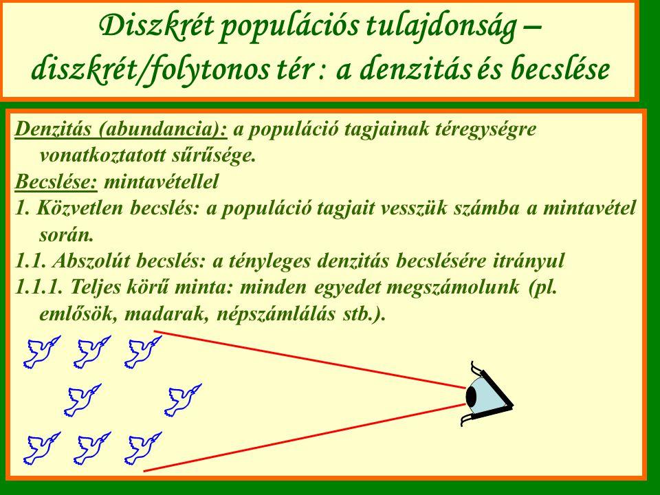 Diszkrét populációs tulajdonság – diszkrét/folytonos tér : a denzitás és becslése