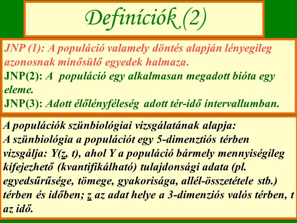 Definíciók (2) JNP (1): A populáció valamely döntés alapján lényegileg azonosnak minősülő egyedek halmaza.