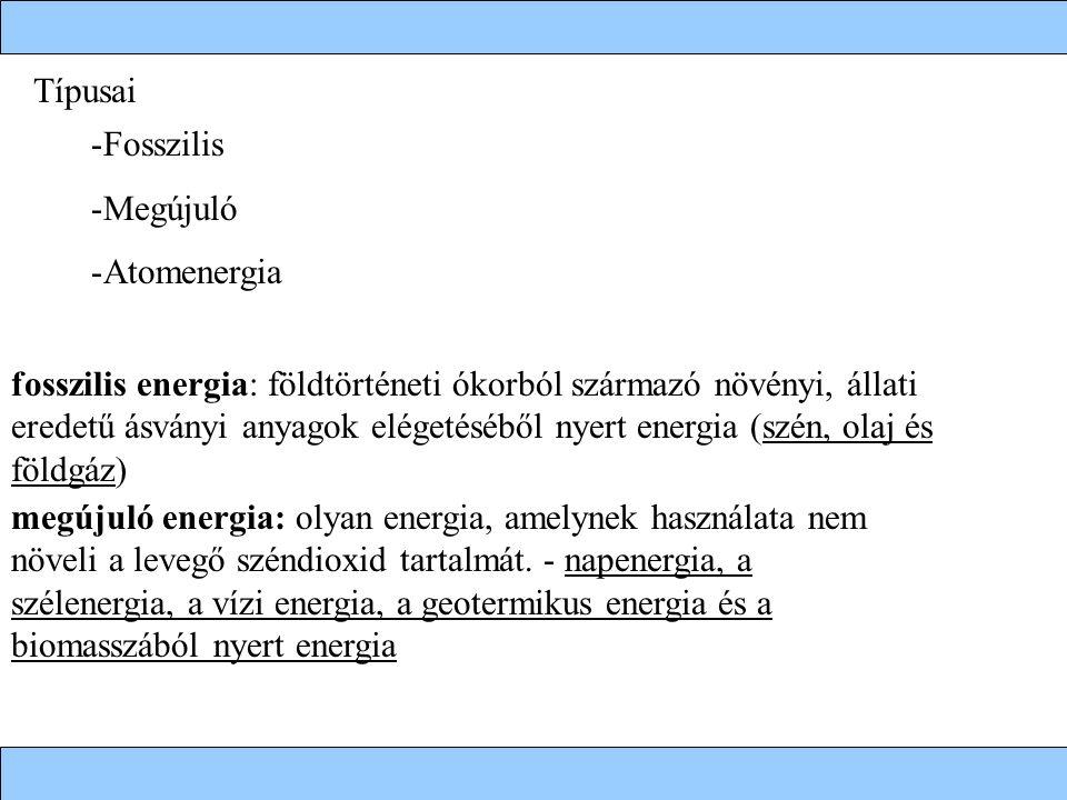 Típusai Fosszilis. Megújuló. Atomenergia.