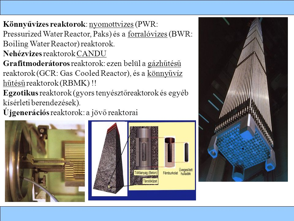 Könnyűvizes reaktorok: nyomottvizes (PWR: Pressurized Water Reactor, Paks) és a forralóvizes (BWR: Boiling Water Reactor) reaktorok.