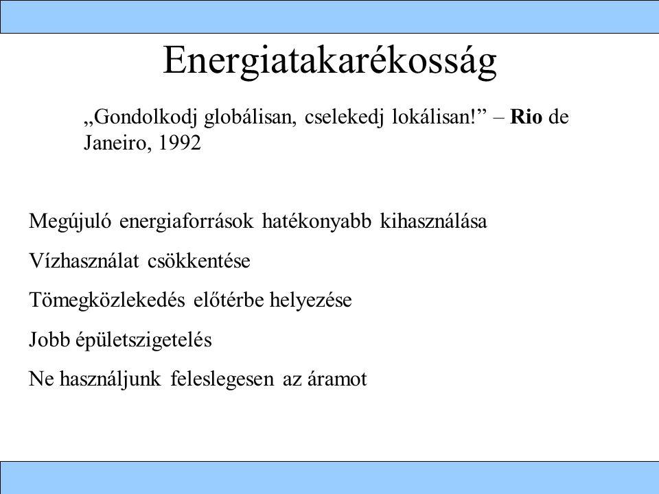"""Energiatakarékosság """"Gondolkodj globálisan, cselekedj lokálisan! – Rio de Janeiro, 1992. Megújuló energiaforrások hatékonyabb kihasználása."""
