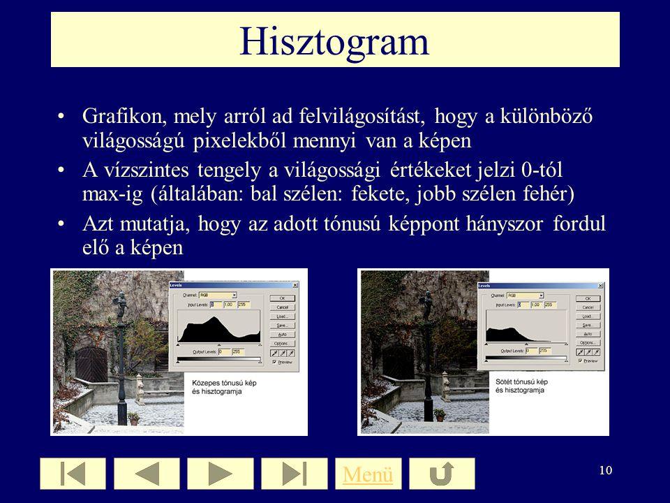Hisztogram Grafikon, mely arról ad felvilágosítást, hogy a különböző világosságú pixelekből mennyi van a képen.