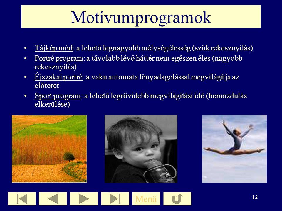 Motívumprogramok Menü