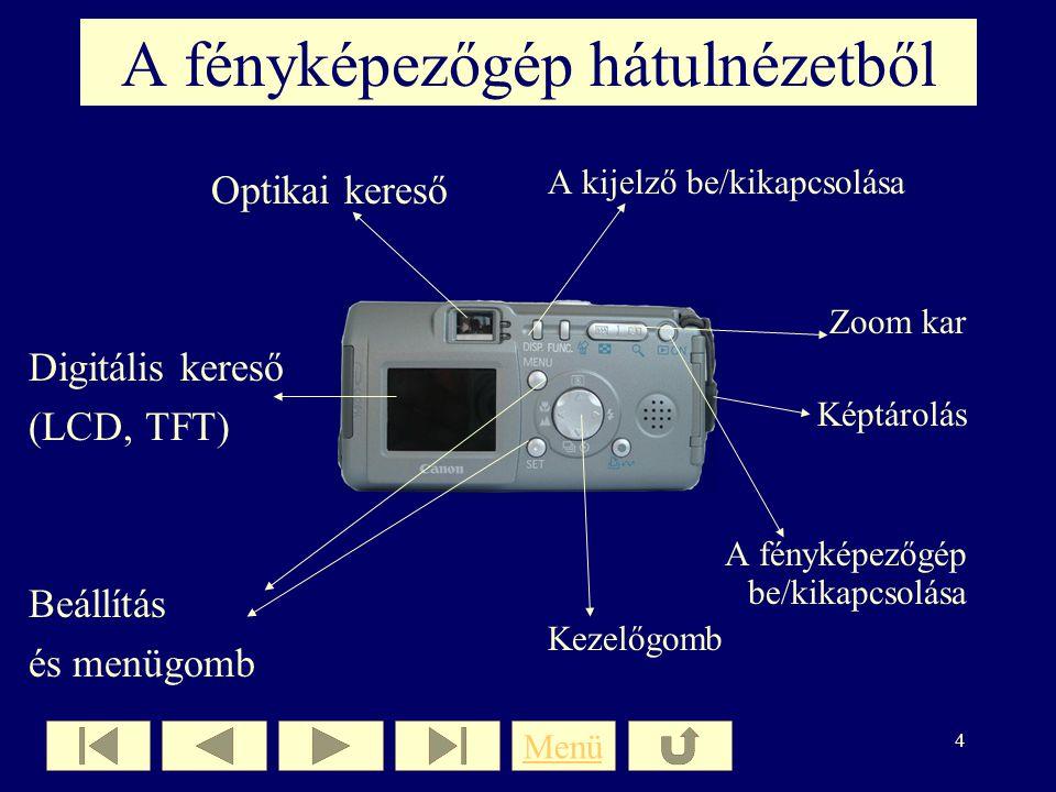 A fényképezőgép hátulnézetből