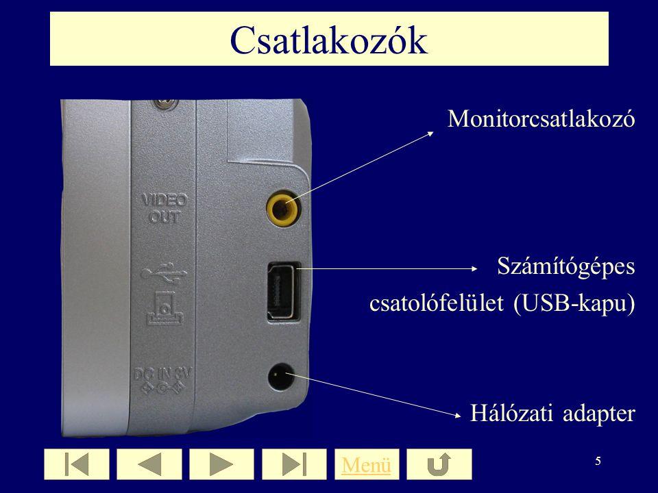 Csatlakozók Monitorcsatlakozó Számítógépes csatolófelület (USB-kapu)