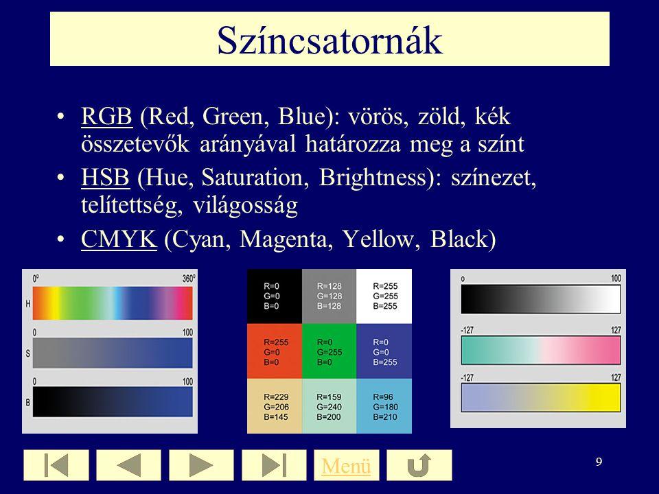 Színcsatornák RGB (Red, Green, Blue): vörös, zöld, kék összetevők arányával határozza meg a színt.