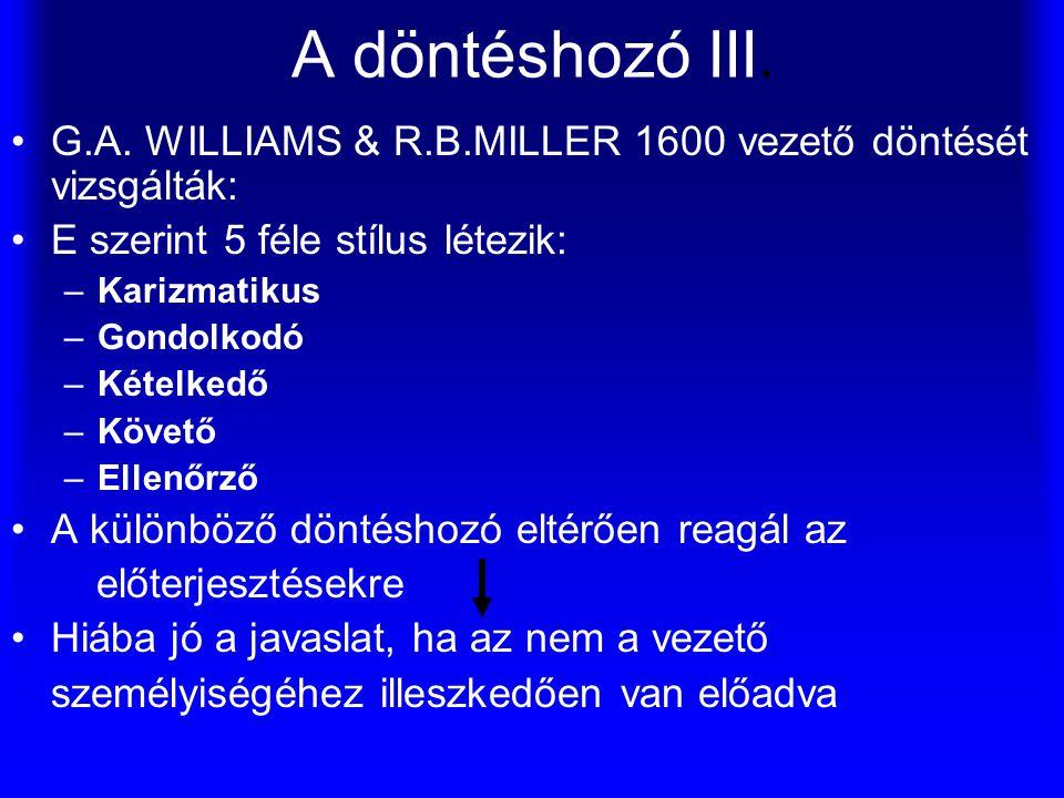 A döntéshozó III. G.A. WILLIAMS & R.B.MILLER 1600 vezető döntését vizsgálták: E szerint 5 féle stílus létezik: