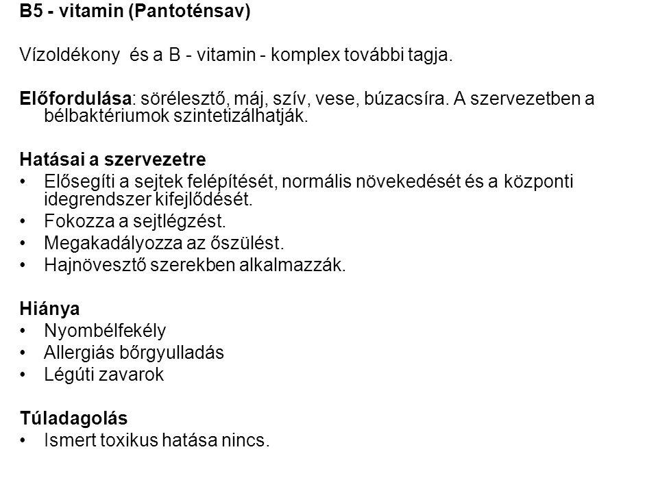 B5 - vitamin (Pantoténsav)