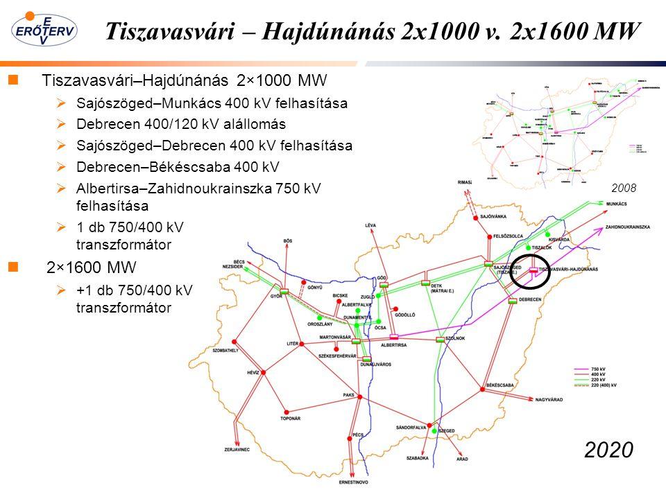 Tiszavasvári – Hajdúnánás 2x1000 v. 2x1600 MW