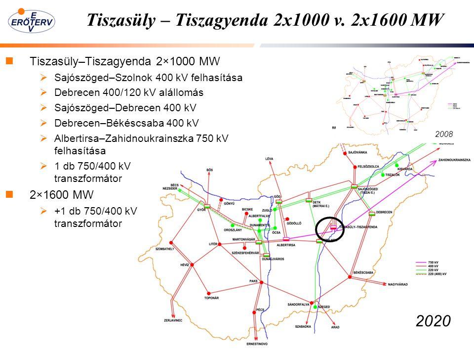 Tiszasüly – Tiszagyenda 2x1000 v. 2x1600 MW