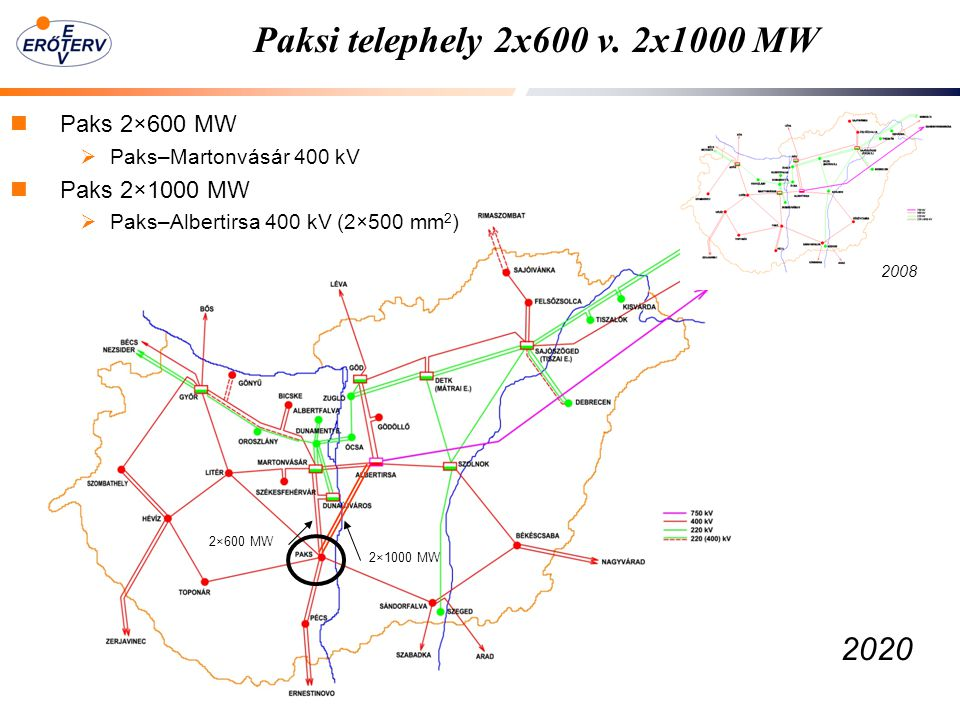 Paksi telephely 2x600 v. 2x1000 MW 2020 Paks 2×600 MW Paks 2×1000 MW