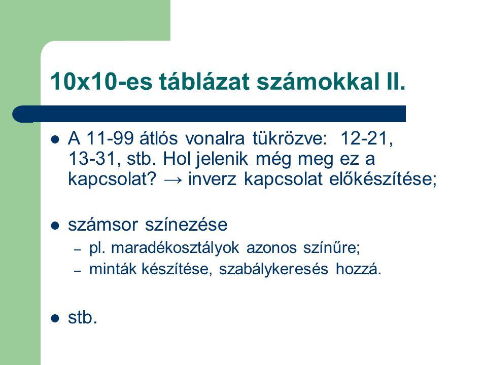 10x10-es táblázat számokkal II.